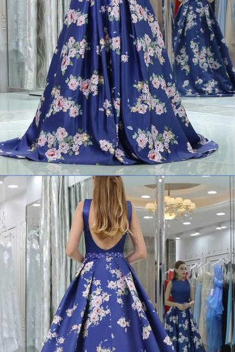 Elegant Royal Blue Long Floral Backless Prom Dress