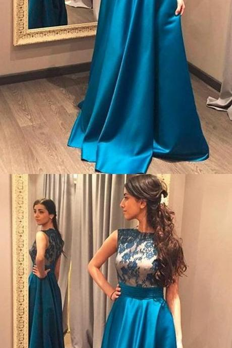CHARMING HIGH NECK BLUE LACE SATIN LONG PROM DRESS EVENING PARTY DRESSES