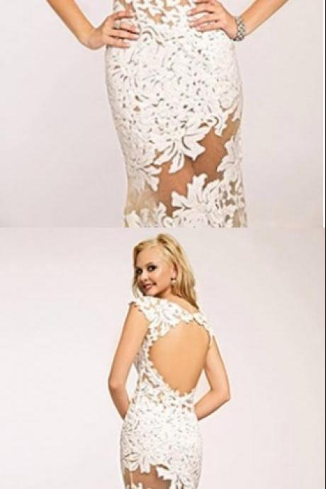 Sexy Sheer Trumpet Prom Dress,Appliques Floral Keyhole Back Evening Dress