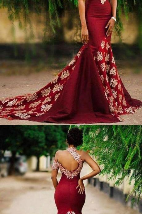 NEW ARRIVAL IVORY LACE BURGUNDY ONE SHOULDER MERMAID LONG EVENING PROM DRESSES PARTY GOWNS