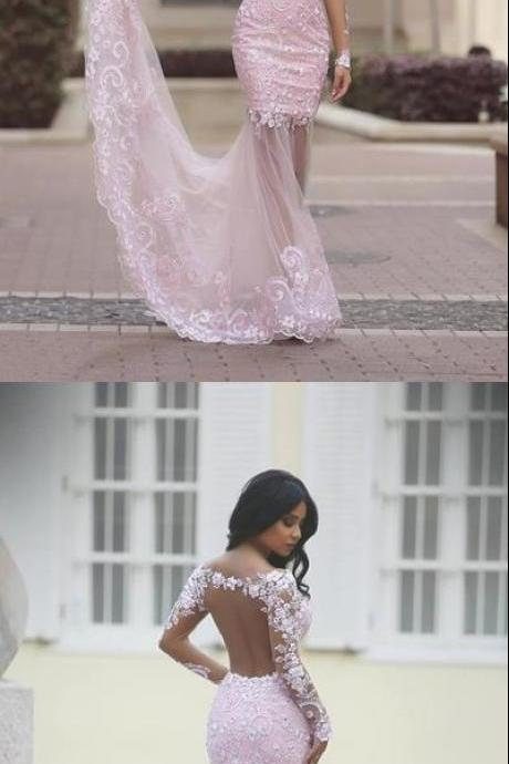 Pink Trumpet Court Train Long Sleeve Sheer Back Appliques Beading Prom Dress Party Dress