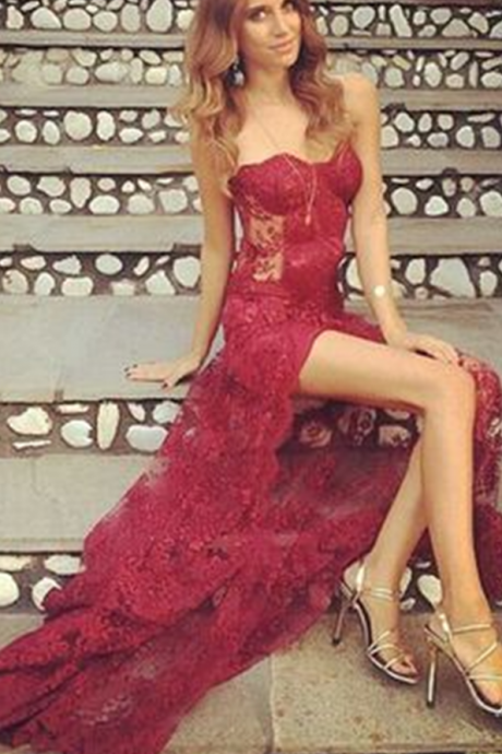 Wine Red Prom Dresses,Charming Evening Dress,Prom Gowns,Lace Prom Dresses, New Prom Gown,Burgundy Evening Gown,Party Dresses
