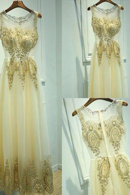 Charming Appliques and Beaded Prom Dress,Elegant Evening Dress,Long Party Dresses,Real Photos Evening Gowns,Sexy Prom Dresses,Formal Dress
