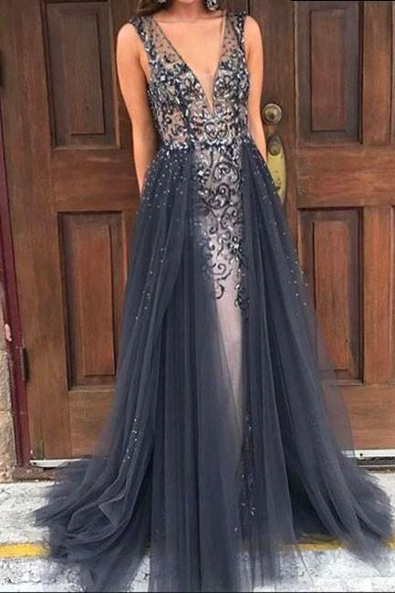 Long V Neck Prom Dresses,Gray Tulle Prom Dresses,Beaded Crystals Prom Dresses,Long Party Dresses,Sexy Formal Evening Gowns