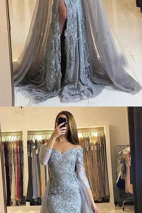 2018 Prom Dresses Long A-line Split Side Long Sleeves Lace Beading Tulle Charming Evening Dress