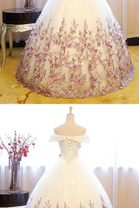 Off-the-Shoulder Ball Gown Cap Sleeves Appliques Floor-Length Quinceanera Dress