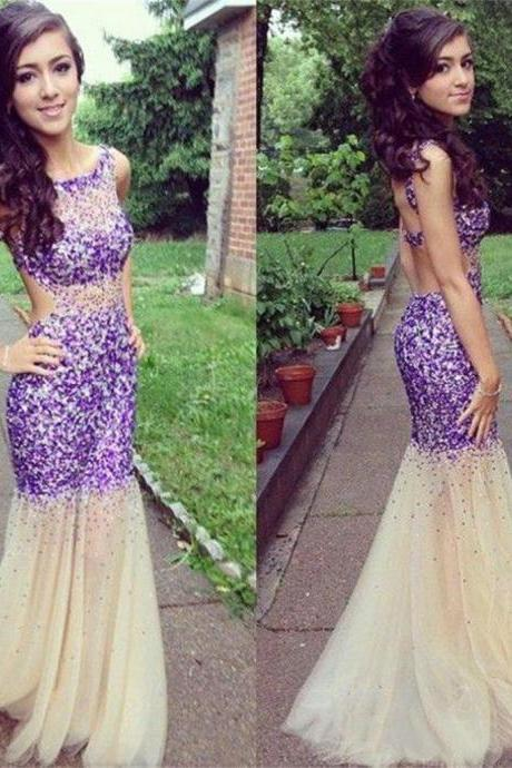 Long White Sparkle Charming Prom Dresses Backless Evening Prom Dresses