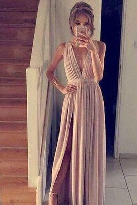 Simple A-line champagne chiffon long prom dress,formal dresses