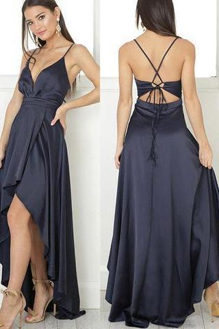 Simple high low prom dress,black evening dress
