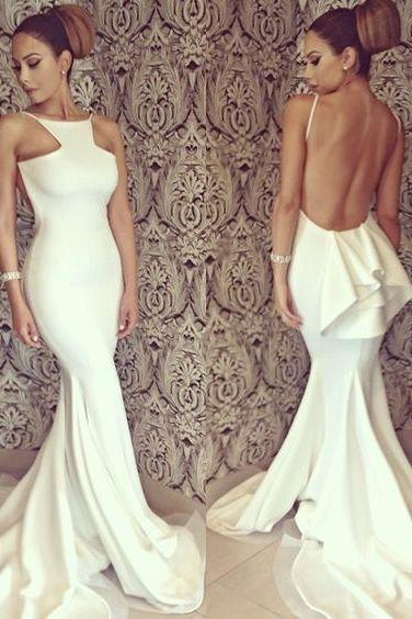 White Sexy Sleeveless Backless Mermaid Prom Dress With Ruffles