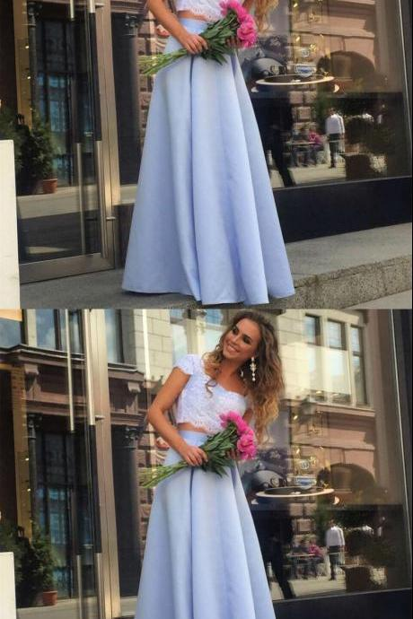 Cheap Prom Dresses Elegant Lace Crop Top Satin Two Piece Hot Sale Formal Evening Gowns Light Blue Floor Length Satin Party Dress