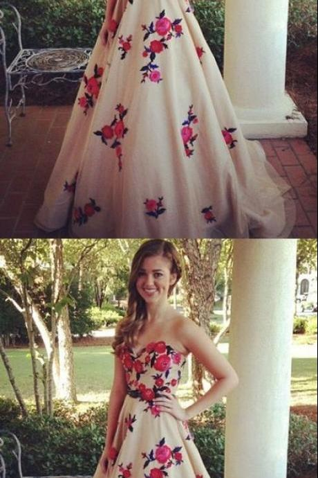Charming A-Line strapless applique long prom dress, strapless evening dress