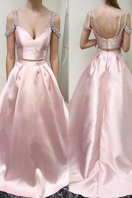 Two Piece Scoop Cold Shoulder Pink Floor-length Beading Prom Dress cheap prom dresses