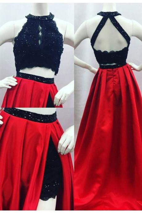Elegant A-line Round Neck Open Back Split Sweep Train Red Prom Dress with Lace Beading cheap prom dresses