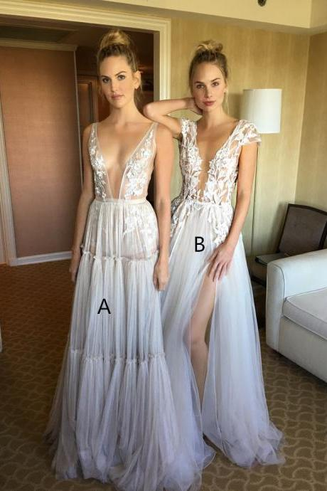 Sexy High Neck White Lace Sweep Train Long Sleeves Prom Dress with Appliques