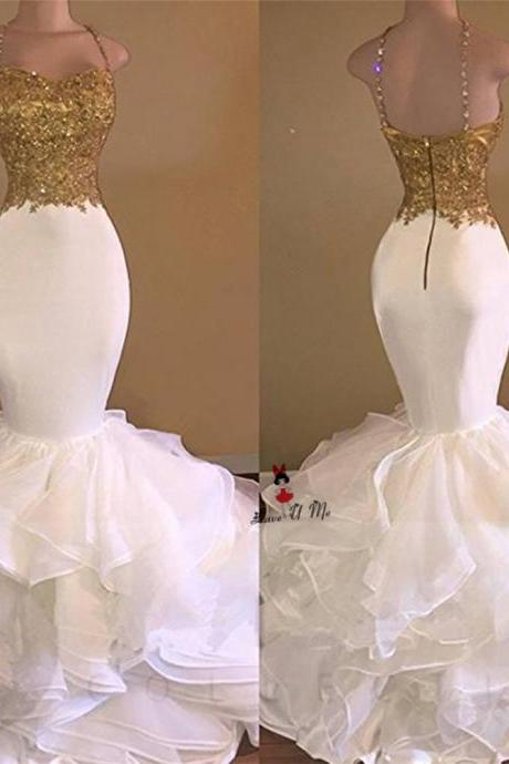 Sexy Prom Dresses,Long Mermaid White and Gold Prom Dresses,2017 Prom Dresses ,Spaghetti Strap Applique Lace Prom Dresses, Ruffles Organza Prom Dress