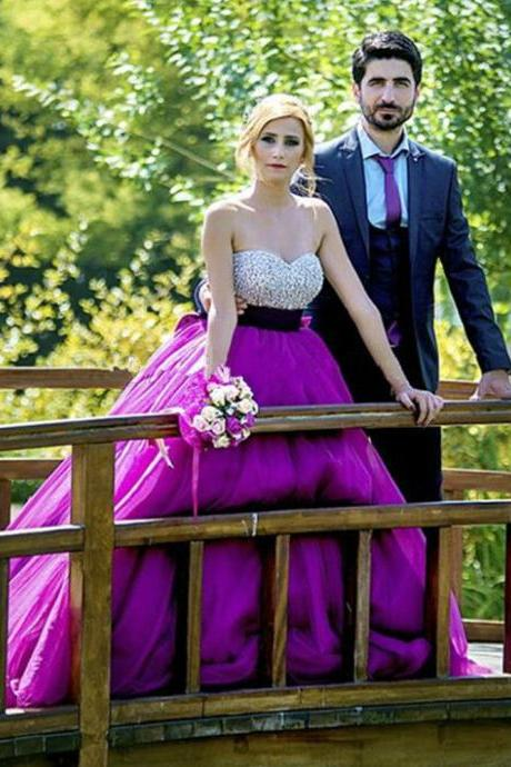 Luxury Sexy Ball Gown Formal Handmade Unique Sweetheart Prom Dress Long Purple Sequin
