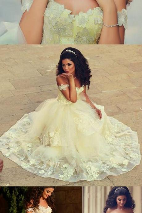 Charming Prom Dress,Appliques Prom Dress,Lace Prom Dress,Yellow Gold Prom Dress,Prom Dress Long,Off Shoulder Prom Dress,Party Dress