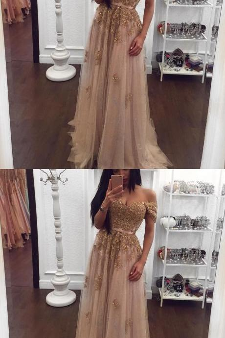 Champagne Color Prom Dresses Sexy Beading Prom Gown Prom Dress with cap Sleeve