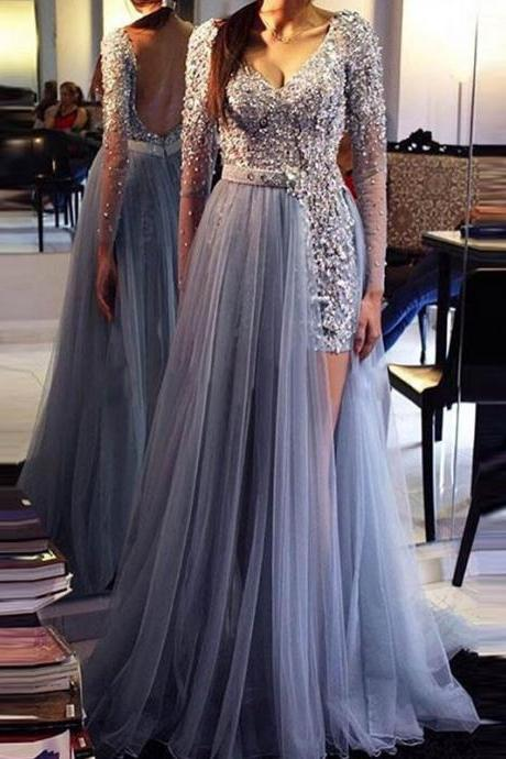 Backless Prom Dress - V-neck Long Sleeves Floor-Length with Sash Pearl Sequins