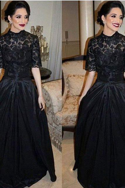Short Sleeve Prom Dress, Vintage Prom Dress, Lace Prom Dress, Black Prom Dress, Prom Dresses 2018, Saudi Arabic Prom Dress, Elegant Prom Dress, Cheap Graduation Dress, Women Formal Dress