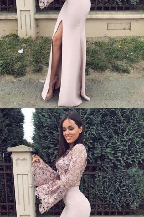 Mermaid Round Neck Long Sleeves Slit Floor-Length Prom Dress with Lace
