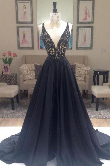 Black Prom Dress Deep V Neckline, Prom Dresses, Graduation Party Dresses, Formal Dress