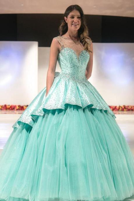 Glitter Mint Quinceanera Dresses Beaded Satin Prom Dresses Puffy Tulle Sweet Party Wedding Ball Gowns