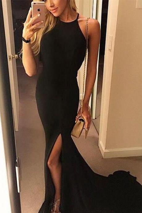 Long Jersey Halter Mermaid Evening Gowns Backless Prom Dresses 2018