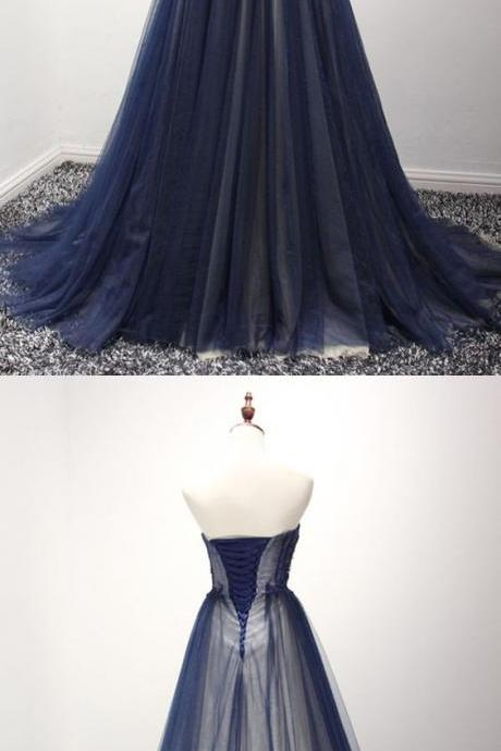 Strapless navy blue tulle A-line long evening dress with appliques and beads