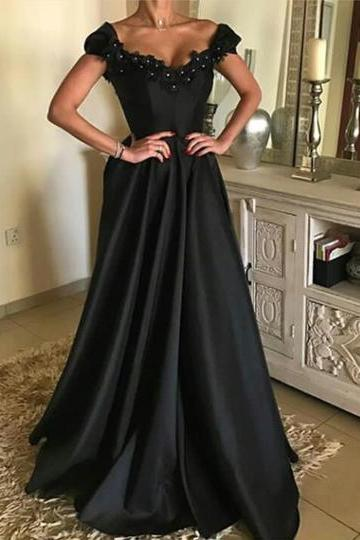 Lace Beaded V Neck Long Black Prom Dresses 2018 Formal Evening Gowns