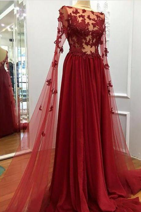 Burgundy prom dress,long formal dress,lace appliques evening dresses,elegant prom dresses