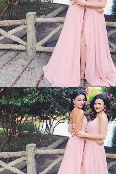 Chiffon Long Bridesmaid Dresses with Slit Party Gowns 2018