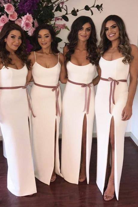 Long Sheath Bridesmaid Dress , Prom Dress with Slit and Sash