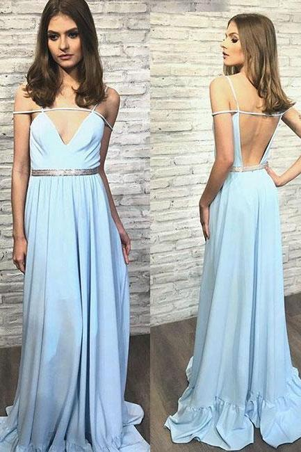 Blue v neck backless long prom dress,blue evening dress