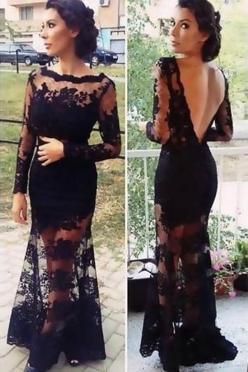Black lace prom dresses, v-back prom dresses, see through prom dresses, mermaid prom dresses, long sleeve prom dresses, popular prom dresses
