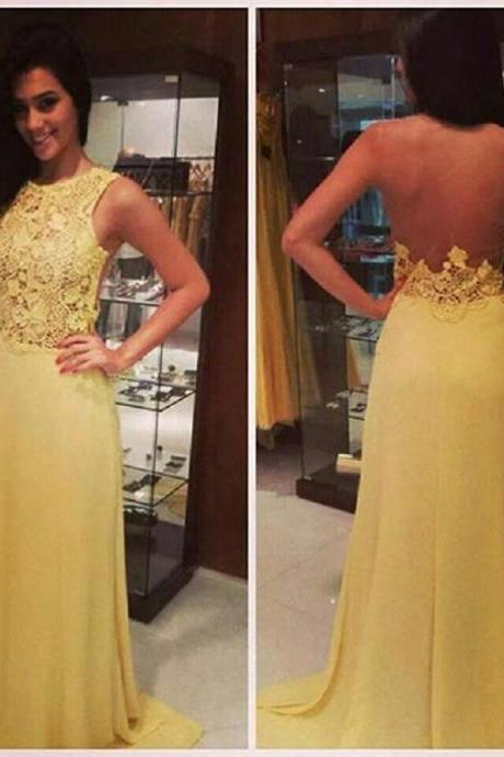 Yellow Lace Prom Dresses 2018 Formal Dresses A Line Illusion Back Evening Party Dresses