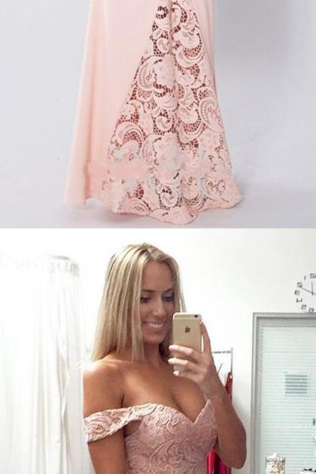 Long Prom Dresses, Jersey Prom Dresses, Mermaid Party Dresses, Off Shoulder Evening Dresses, Lace Prom Dresses , Pink Prom Dresses, Backless Prom Dress