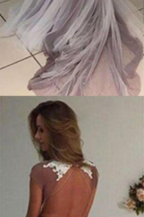 Long prom dresses, cap sleeve prom dress, open back prom dress, tulle lace prom dress, formal prom dress, cheap prom dress