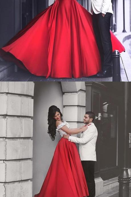 RED APPLIQUE TWO PIECES LONG PROM DRESS, RED FORMAL DRESS FOR TEENS
