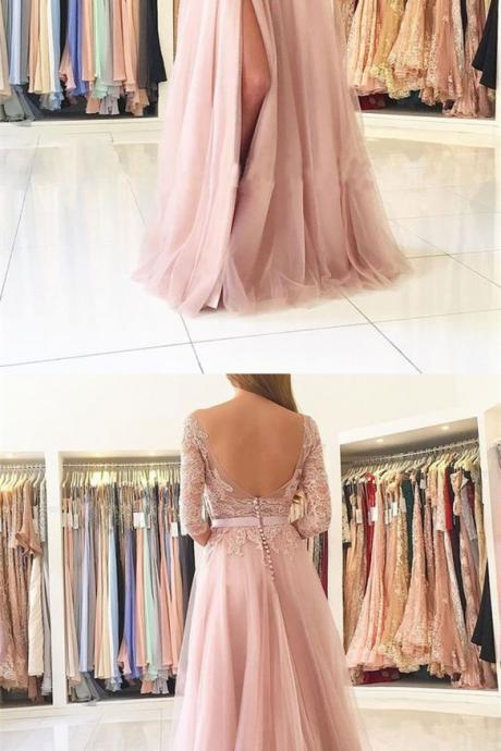 New Long Sleeves Split Side Long Prom Dresses with Appliques Lace