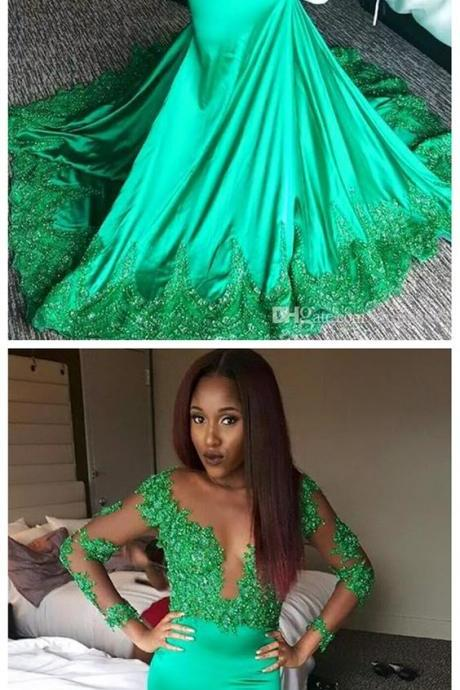 Long Sleeve Lace Mermaid Evening Prom Dresses,Long Green Prom Dress, Custom Long Prom Dress, Cheap Party Prom Dress, Formal Prom Dress