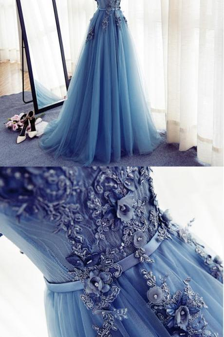 Cap Sleeve Blue Lace Beaded Evening A Line Prom Dresses, Long Sexy Party Prom Dress, Custom Long Prom Dresses, Cheap Formal Prom Dresses