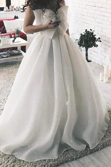 A Line Sweetheart Organza Wedding Dresses With Bow