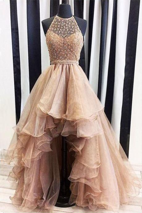 Beaded Halter High Low Charming Affordable Long Evening Prom Dress
