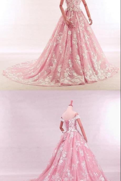 Vintage Lace Appliques Off Shoulder Pink Lace Wedding Dress Ball Gowns