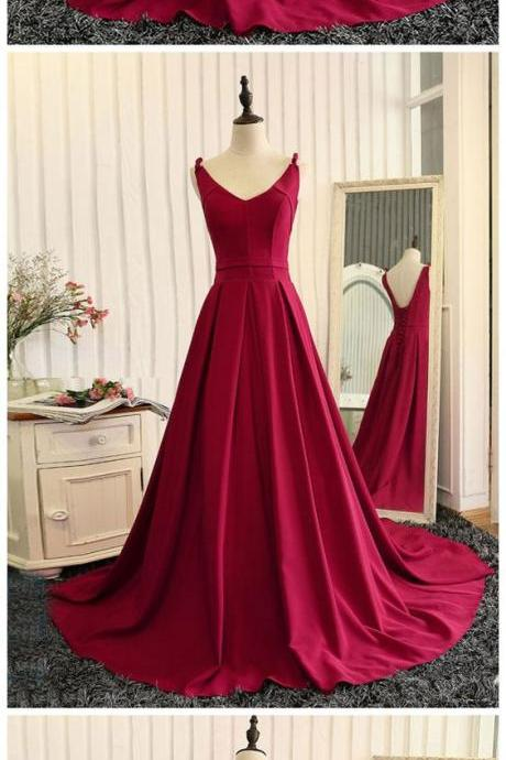 Simple Red Prom Dress V-neck Satin Evening Gown
