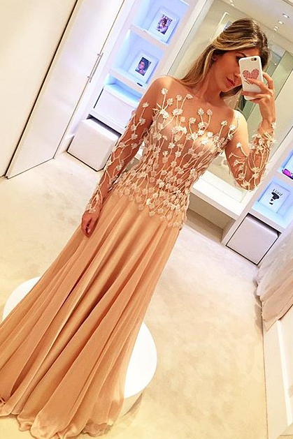 Champagne Prom Dress, Lace Applique Prom Dress, Floral Prom Dress, Chiffon Prom Dress, Elegant Prom Dress, Long Sleeve Prom Dress, Prom Dresses 2018, Women Formal Dress, Sexy Formal Dress