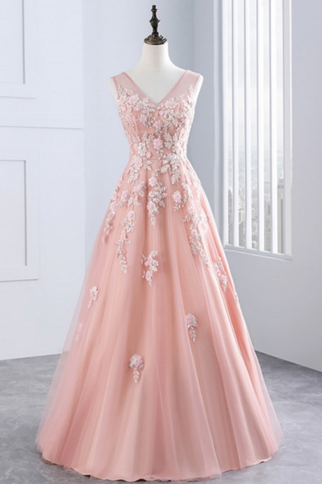 Pink Long Evening Dresses Party Tulle Appliques A Line Women Beautiful Prom Formal Evening Gown Dress for Wedding
