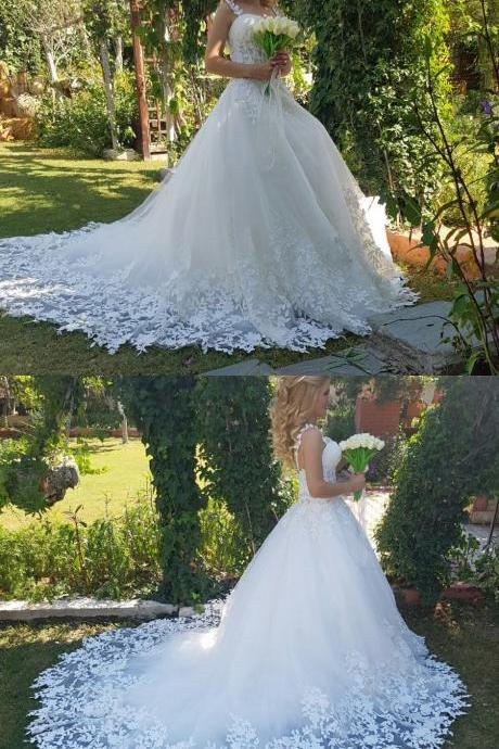 Sweetheart Tulle Wedding Dress Illusion Bodice 2018 Romantic Lace Straps